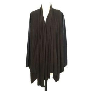 ZARA Khaki/ Black Faux Leather Drape Sweater/S